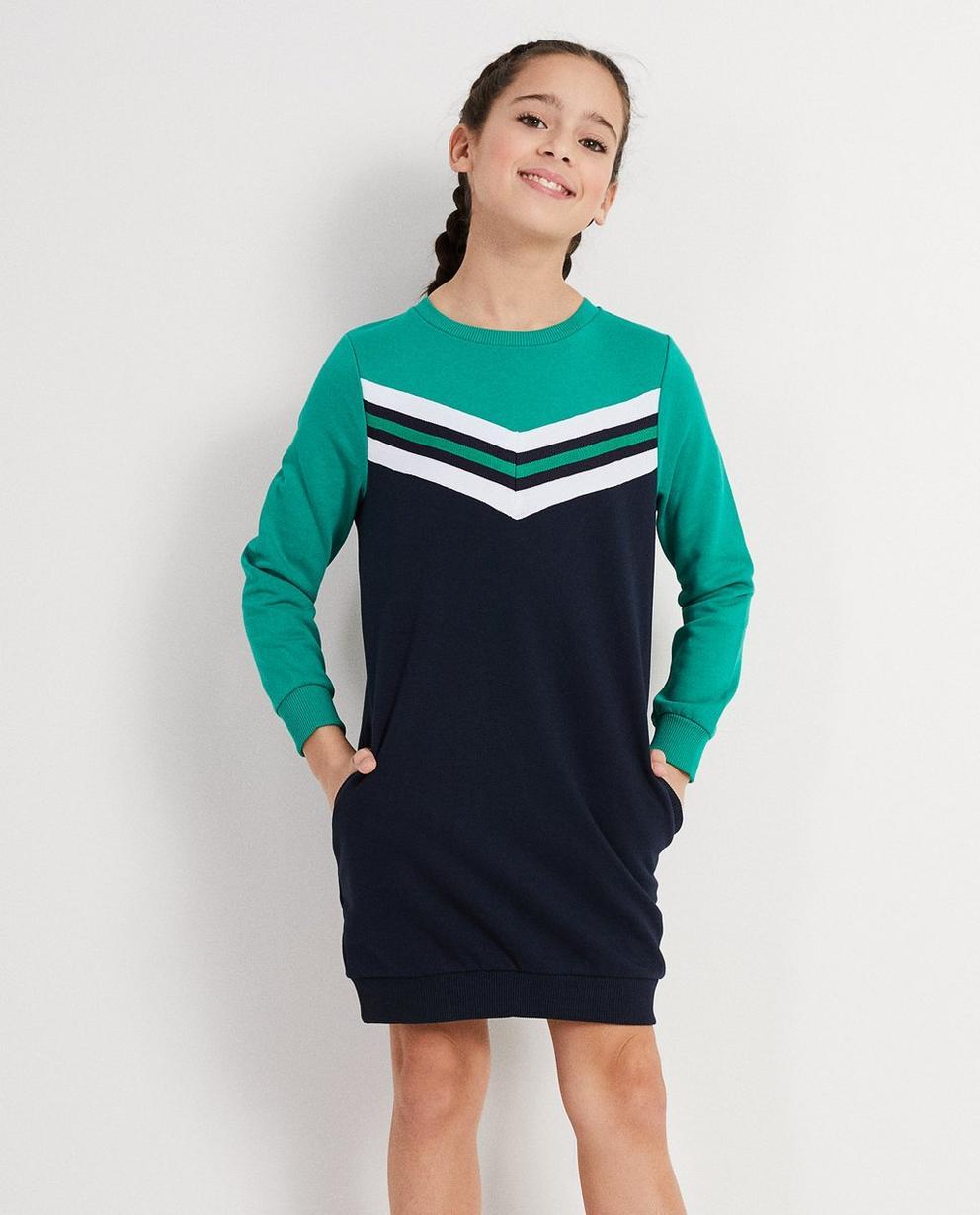 Kleider - Grün - Colour-Block-Kleidchen